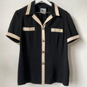 "Vintage ""Leslie Fay"" Constrast Trim Collared Shirt"
